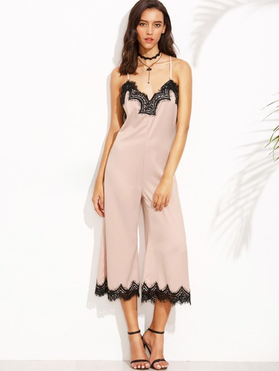 Pink Spaghetti Strap Appliques Criss Cross Backless Jumpsuit