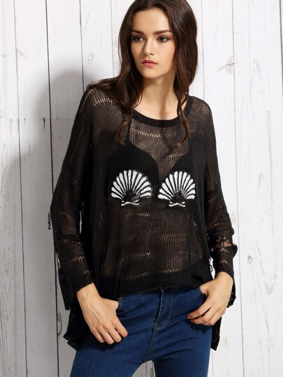 Black Scallop Sequined High Low Sweater