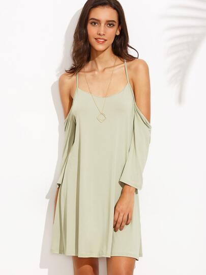Green Cold Shoulder Open Back Criss Cross Dress