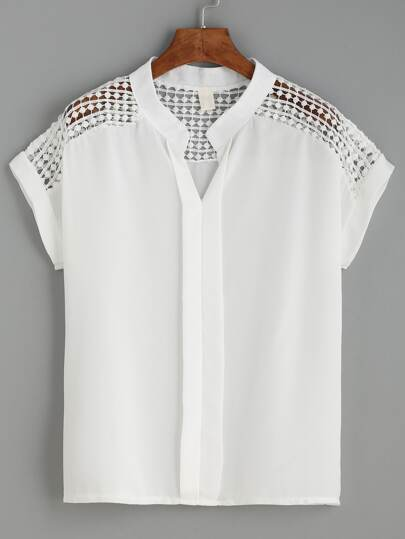 White Dot Crochet Yoke Layered Placket Blouse