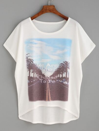 White Graphic Print High Low T-shirt