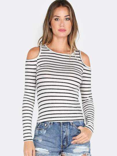 Cut Out Long Sleeve Stripe Top IVORY