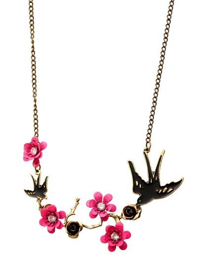 Antique Bronze Swallow and Flower Statement Necklace
