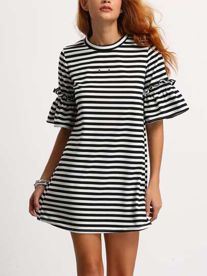 Striped Ruffuled Sleeve Swing Dress