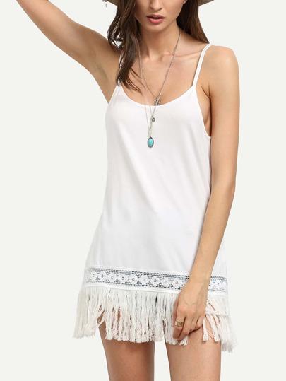 White Fringe Asymmetrical Cami Top
