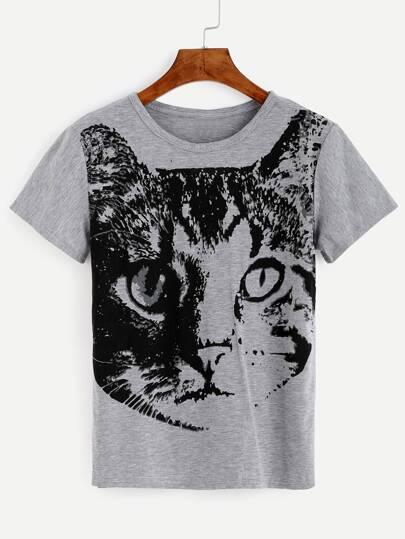 Heather Grey Cat Print T-shirt