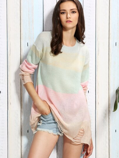 Ombre Round Neck Ripped Sweater