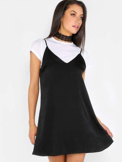 Spaghetti Strap Slip Dress BLACK