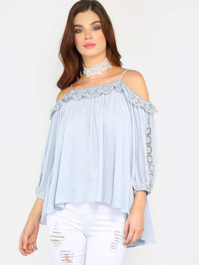 Cold Shoulder Crochet Trim Top BLUE