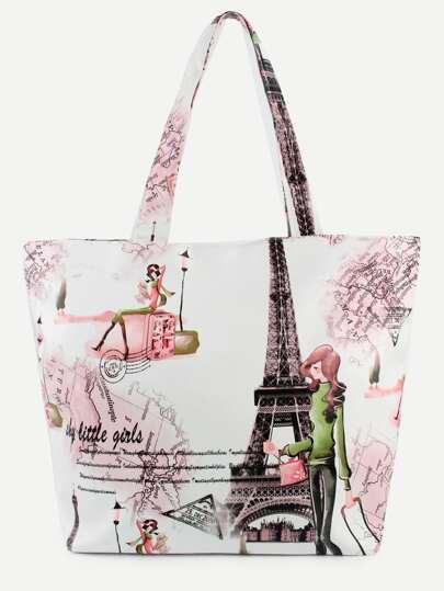 White Eiffel Tower Print Tote Bag