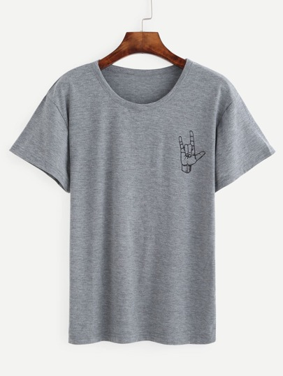 Heather Grey Love Gesture Print T-shirt