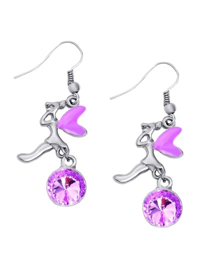 Purple Rhinestone Embellished Fairy Shape Drop Earrings