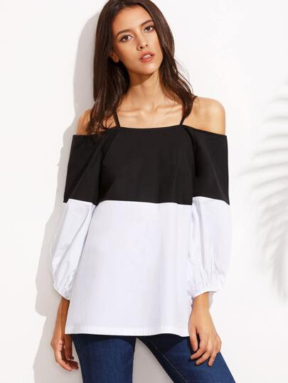 Color Block Cold Shoulder Long Sleeve Blouse