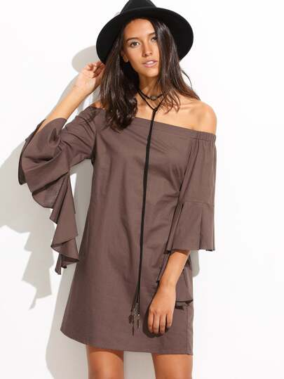 Coffee Ruffle Sleeve Off The Shoulder Shift Dress