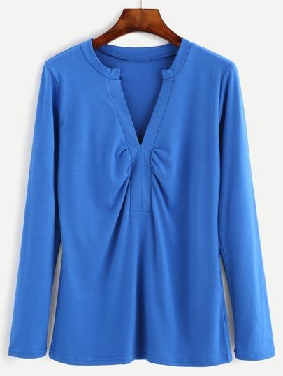 Blue Shirred V Neck Long Sleeve T-shirt
