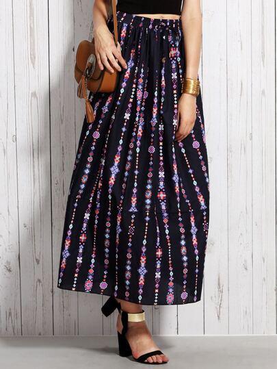 Navy Tribal Print Drawstring A-Line Skirt