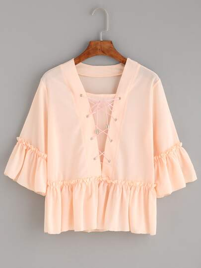 Pink Lace Up Ruffle Blouse