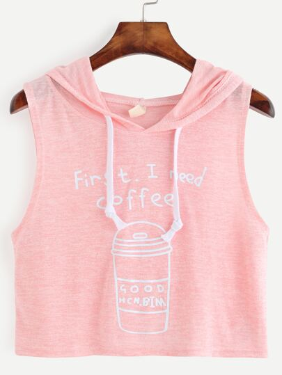 Pink Coffee Cup Letters Print Hooded Tank Top