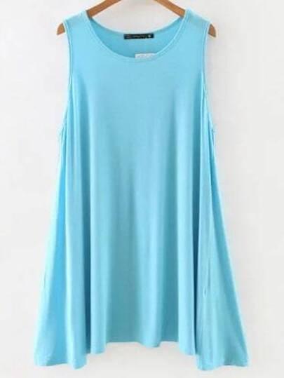 Blue Sleeveless Shift Dress