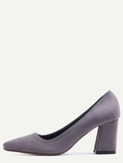 Grey Pointed Toe Chunky Pumps
