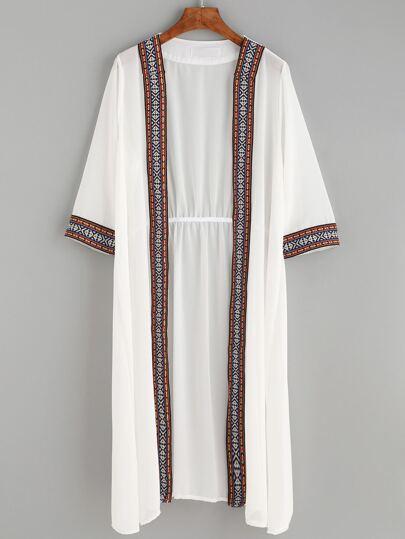 White Elastic Waist Embroidered Tape Detail Long Kimono