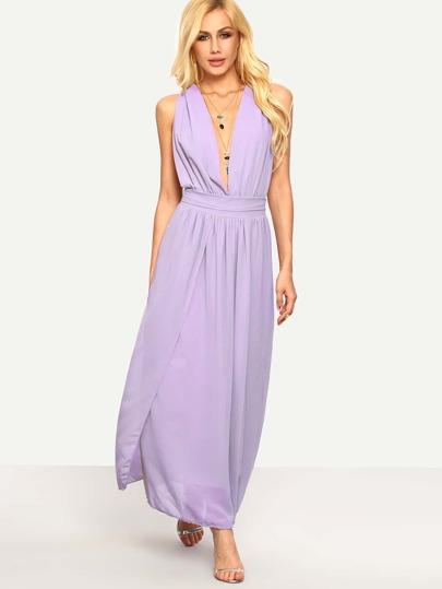 Purple Plunge Neck Tie-Back Chiffon Dress