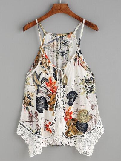 White Crochet Trim Tropical Print Cami Top