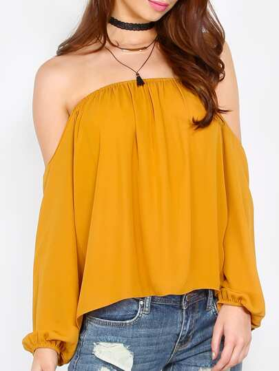 Yellow Off The Shoulder Long Sleeve Blouse