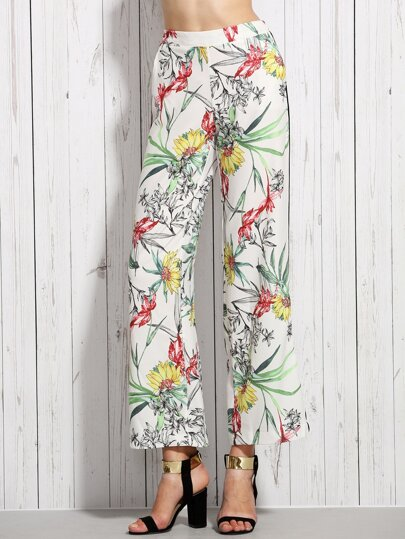 White Elastic Waist Pocket Floral Pants