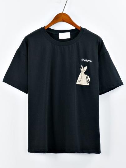 Black Hand Embroidered Drop Shoulder T-shirt