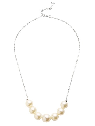 Silver Faux Pearl Statement Necklace