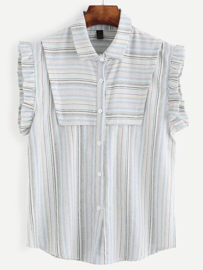 Striped Buttons Ruffle Sleeveless Blouse