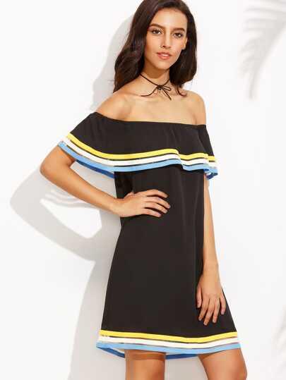 Black Off The Shoulder Ruffle Shift Dress