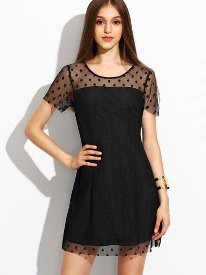 Black Polka Dot Mesh A Line Dress