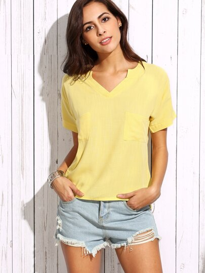 Yellow V Neck Dual Pocket Front Top
