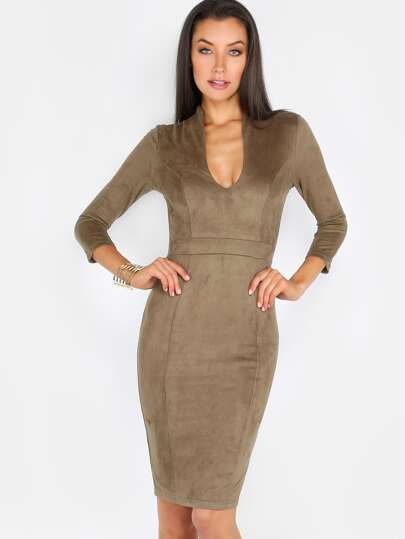 Faux Suede Long Sleeve Dress OLIVE