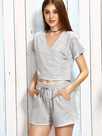 Heather Grey Surplice T-shirt With Drawstring Shorts