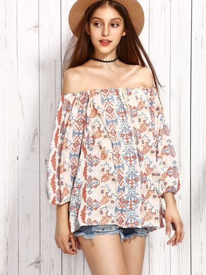 Multicolor Off The Shoulder Embroidery Blouse