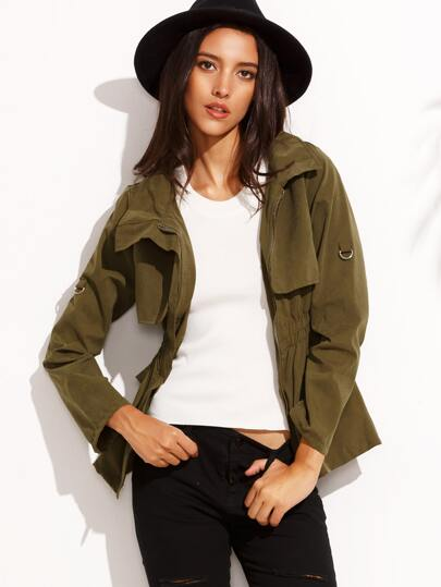 Olive Green Gun Flap Detail Shirred Waist Outwear