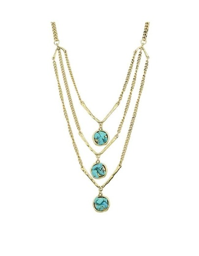 Gold  Turquoise Mutilayers Necklace