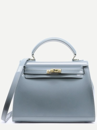 Grey Turnlock Strap Closure Plastic Satchel Bag