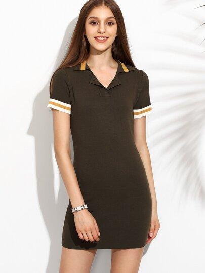 Coffee Lapel Stripe Trim Bodycon Dress