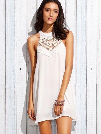 White Crochet Insert Keyhole Halter Neck Dress
