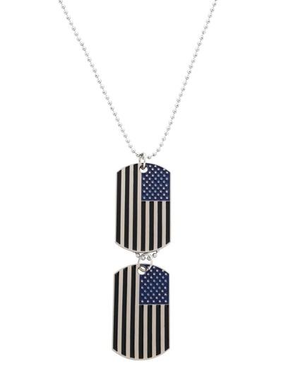 Silver Enamel Black Stripe USA Flag Pendant Necklace