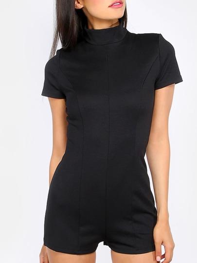 Black High Neck Short Sleeve Jumpsuit