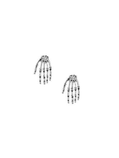 Silver Skeleton Hand Ear Studs