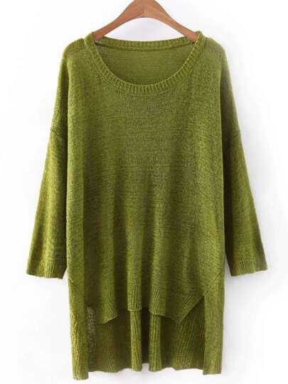 Green High Low Plain Knitwear