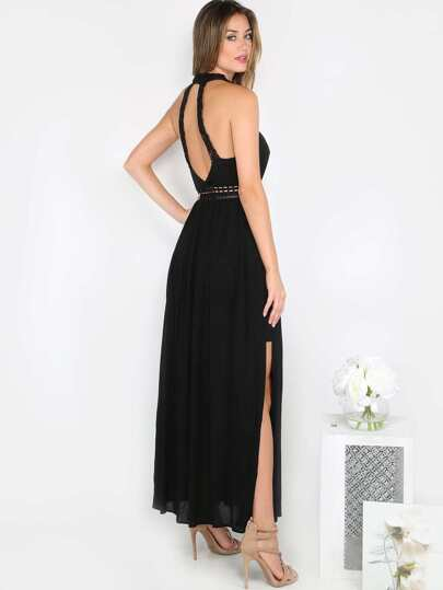 Knotted Crochet Maxi Dress BLACK