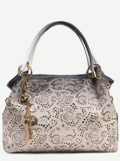 Contrast Laser Cutout Printed Bag With Faux Gem Charm
