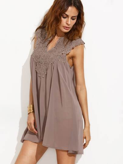 Coffee Notch Neck Appliques Hollow Out Chiffon Dip Hem Dress
